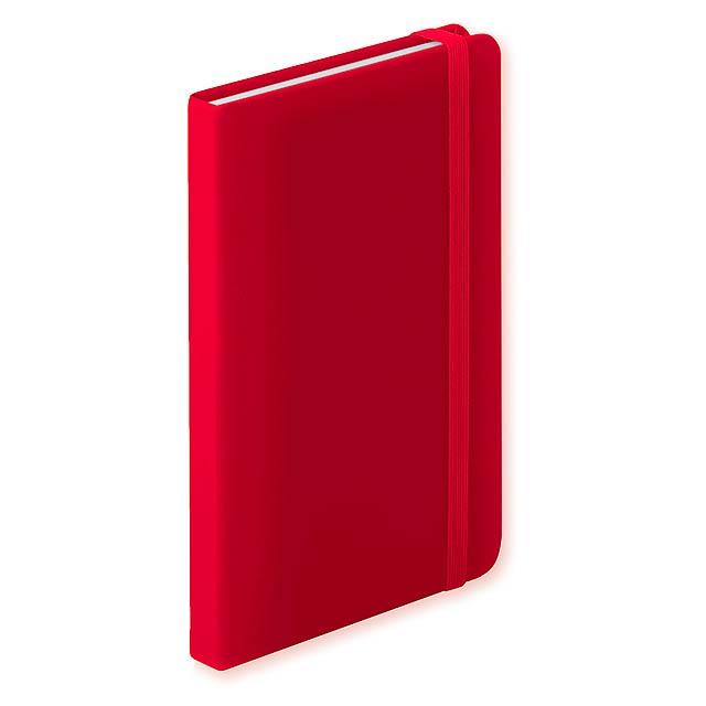 Blok s deskami z PU kůže, se 100 linkovanými listy a gumičkou.  - červená - foto