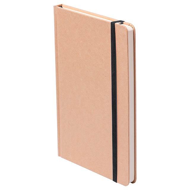 Blok s deskami z lepenky, se 100 listy, barevnou záložkou a gumičkou.  - černá - foto