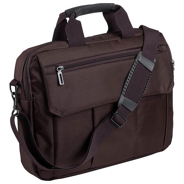 Taška na dokumenty s vypolstrovanou částí na laptop, kapsami na zip, nastavitelným popruhem a přední kapsou na suchý zip, 600D polyester. - hnědá - foto