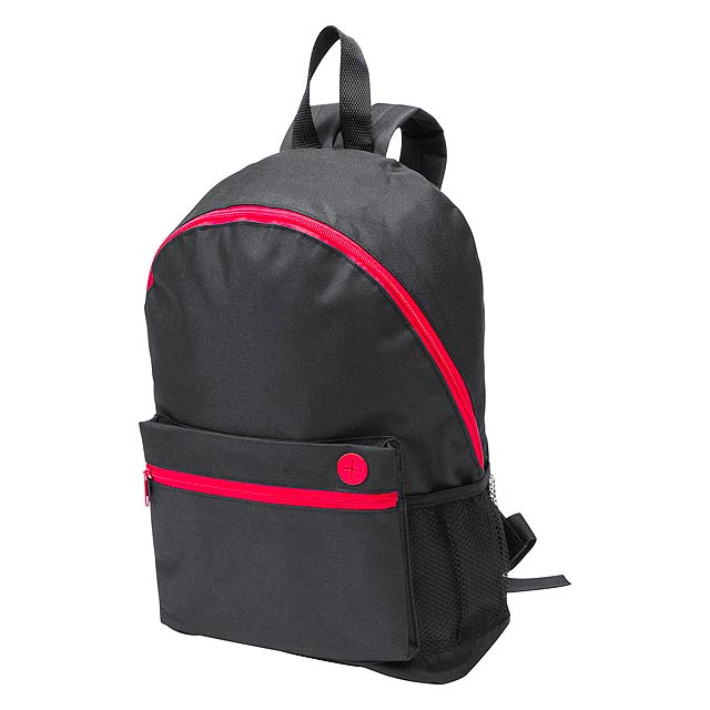 Batoh s mnoha kapsami na zip, nastavitelnými popruhy  a výstupem pro sluchátka, 600D polyester.  - červená - foto