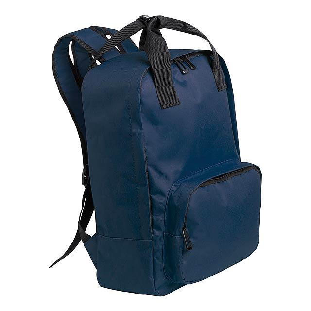 Batoh s kapsami na zip, nastavitelnými popruhy a vypolstrovanou částí na laptop, 600D polyester.  - modrá - foto