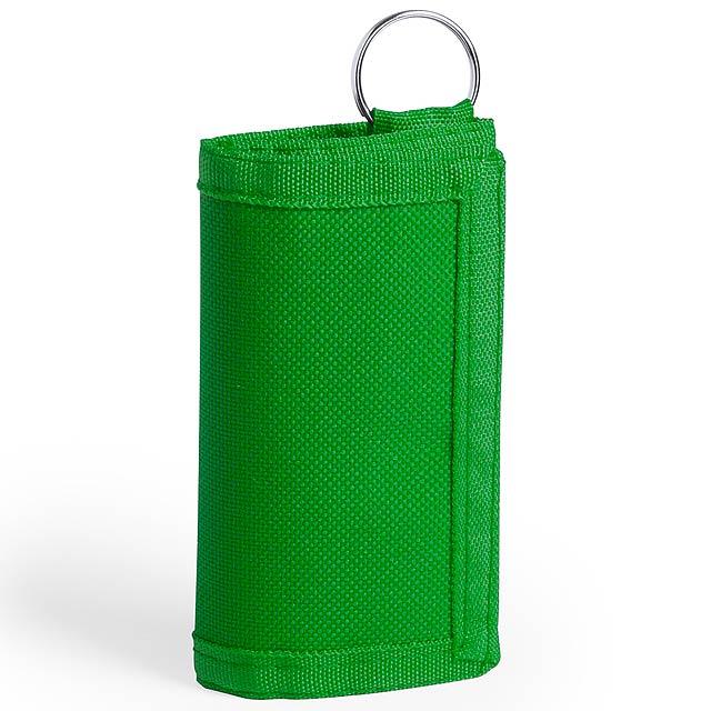 Motok peněženka s přívěškem na klíče - zelená
