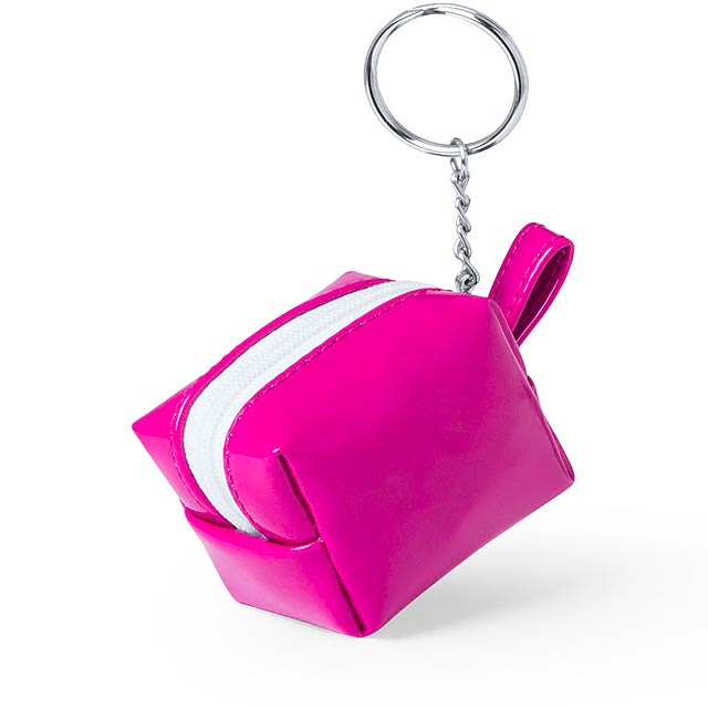 Darnex peněženka s přívěškem na klíče - fuchsiová (tm. růžová)
