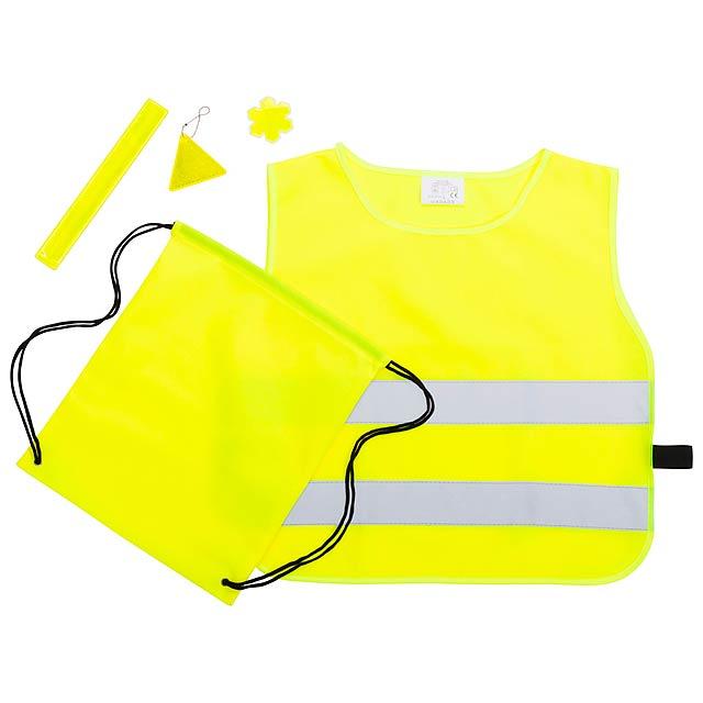 Viditelná 5ti dílná sada pro děti s vestou (EN1150), reflexním páskem, vakem na stažení, samolepkou a odrazkou. 100% polyester. - multicolor - foto