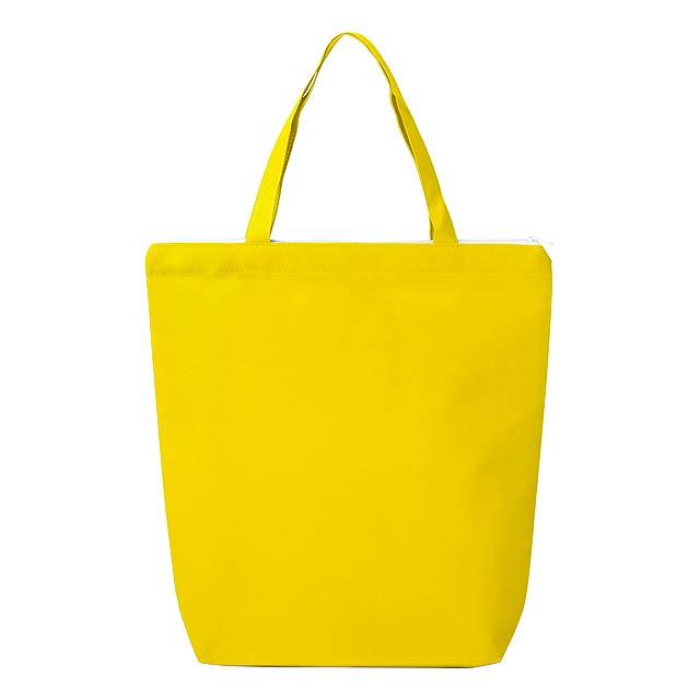 Nákupní taška na zip z netkané textilie, se středně dlouhými uchy, 80 g/m². - žlutá - foto