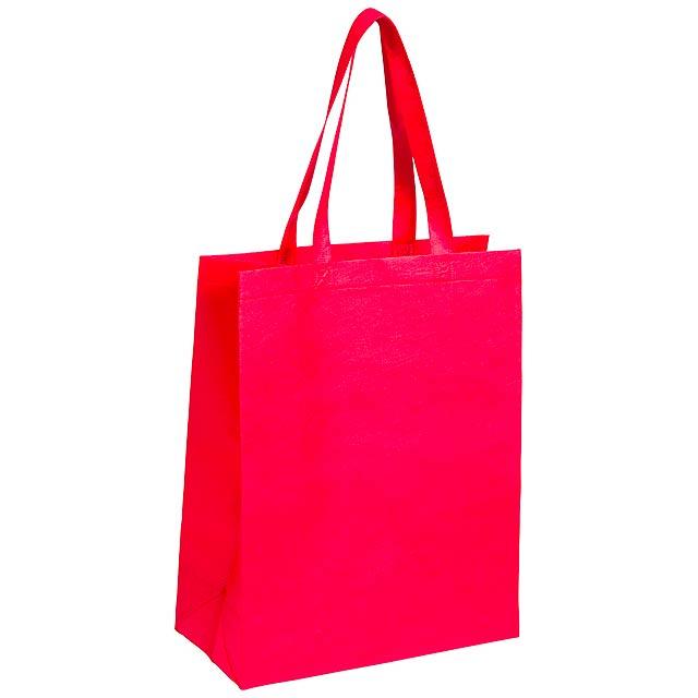 Nákupní taška z netkané textilie s dlouhými uchy, 80 g/m². - červená - foto