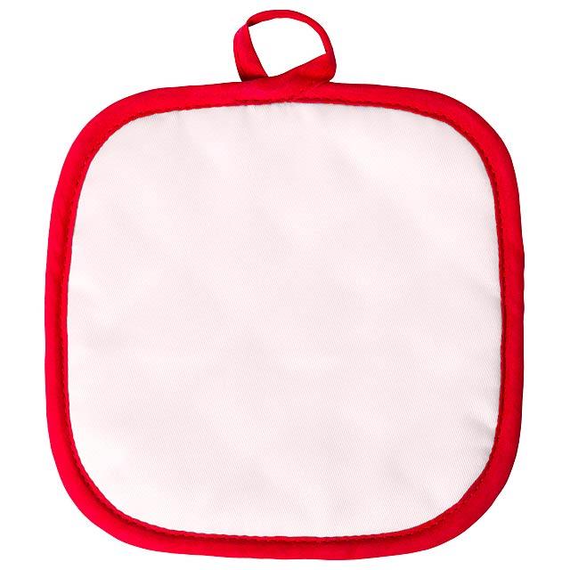 Polyesterová kuchyňská chňapka s barevným lemováním, 1 ks. Ideální pro sublimační potisk. - červená - foto