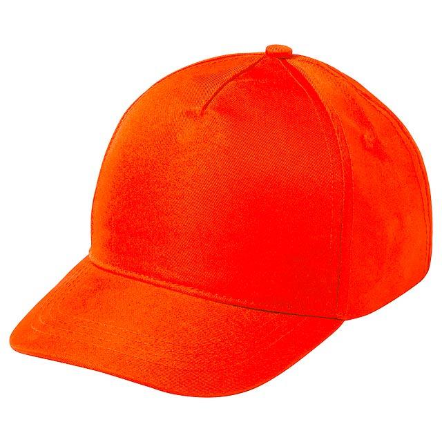 Baseballová čepice s 5ti panely a zapínáním na suchý zip. Polyester/mikrovlákno. - oranžová - foto