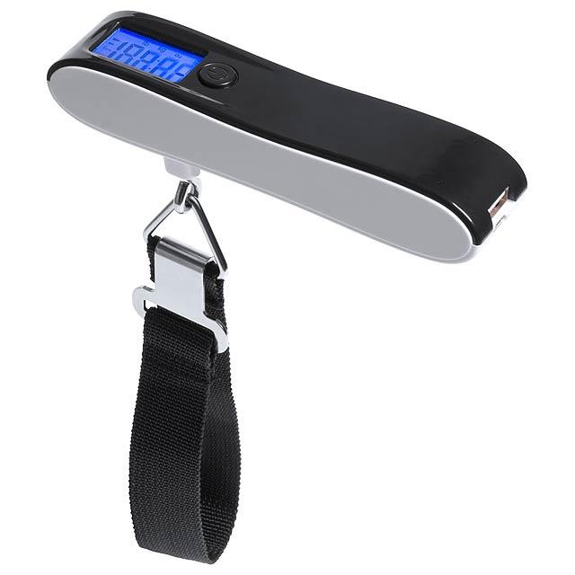 Digitální váha na zavazadla s vestavěnou 2200 mAh USB power bankou. Max. nosnost 50 kg. Vč. USB nabíjecího kabelu.  - černá - foto