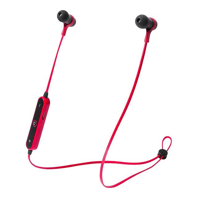 Bluetooth sluchátka do uší s funkcí handsfree a vestavěnou dobíjecí baterií. Vč. USB nabíjecího kabelu.  - červená - foto