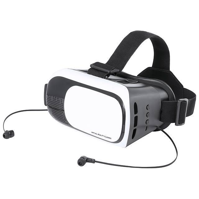 Plastová sada pro virtuální realitu s vestavěnými bluetooth sluchátky, nastavitelnými čočkami, elastickým páskem a držákem na mobil. Podporuje chytré telefony s displejem 4.5-6.5 palců. - černá - foto