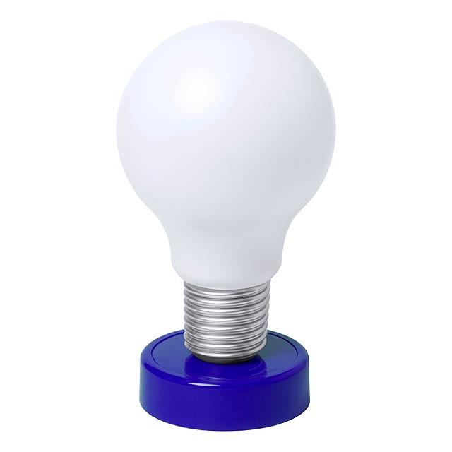 Plastová stolní lampička ve tvaru žárovky s 1 LED světlem. Dodáváno bez 4 AA baterií. - modrá - foto