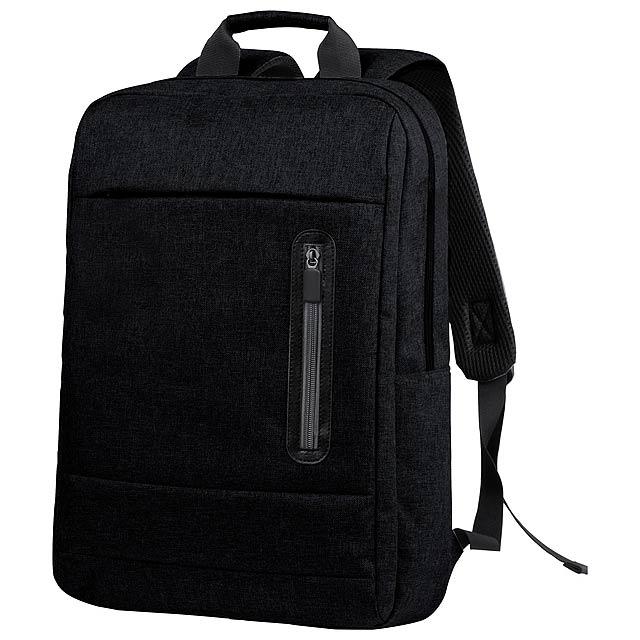 Batoh s mnoha přihrádkami na zip, vypolstrovanými popruhy a přihrádkou na laptop. 600D polyester. - černá - foto