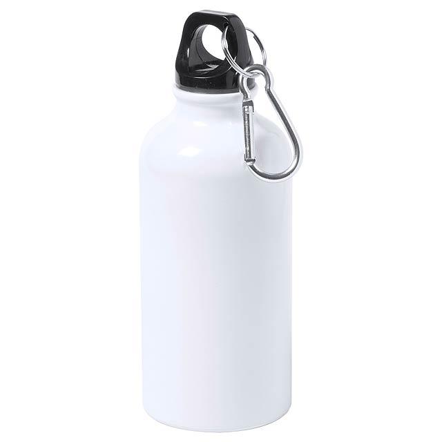 Hliníková sportovní láhev s karabinkou, 400 ml. Ideální pro sublimační potisk. Obsah: 400 ml - bílá - foto