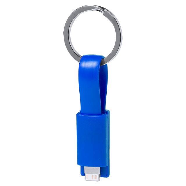 Holnier přívěšek na klíče s USB nabíjecím kabelem - modrá
