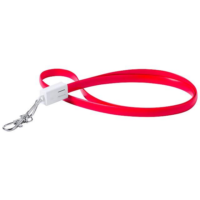 Doffer lanyard s USB typ-C - červená