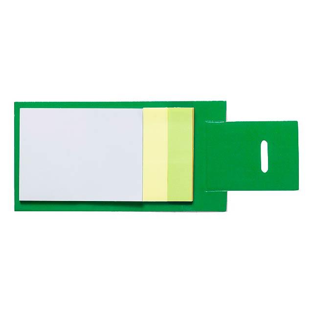 Blok se samolepícími lístky (2 velikosti - 30 velkých a 50 malých) v papírových deskách. - zelená - foto