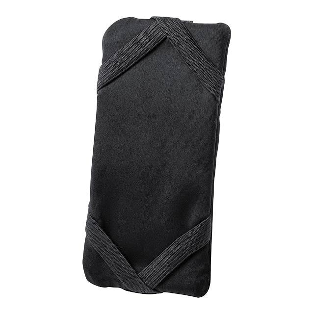 Peněženka na zip se stojánkem na mobil a nastavitelným páskem na ruku, materiál lycra.  - černá - foto