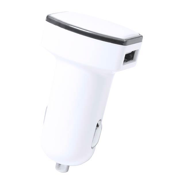 USB bluetooth nabíječka do auta s GPS sledováním a 2 porty, max. výstup: 2400 mA. - bílá - foto