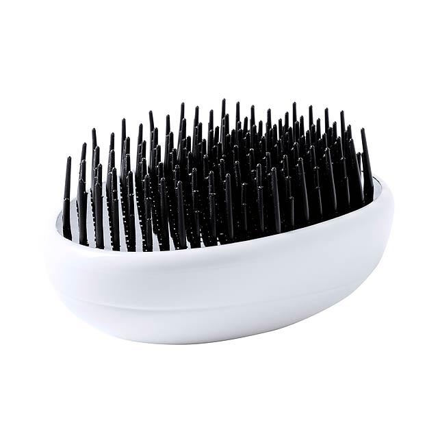 Plastový kartáč na vlasy, proti zacuchání. - bílá - foto