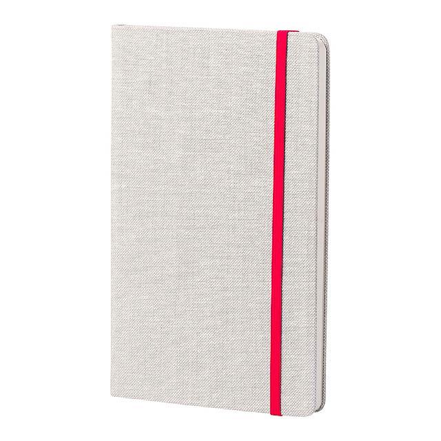 Blok s deskami z polyesteru s barevnou gumičkou a 98 listy. - červená - foto