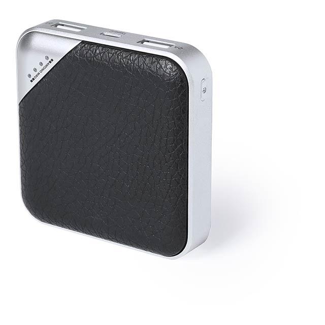 Power banka kov/PU kůže s 5000 mAh baterií, USB Typ-C a 2 USB výstupy. Bez nabíjecího kabelu. Antonio Miro značkový produkt. - černá - foto