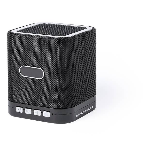 Bluetooth reproduktor s 3W výkonem, handsfree funkcí a mini slotem pro SD kartu na 32 GB. Včetně mini USB nabíjecího kabelu a 3,5 mm přídavného jack kabelu. Polyesterová tkanina s protiskluzovou pryží. - černá - foto
