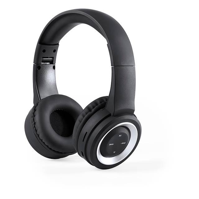 Skládací, bluetooth sluchátka s 3,5 mm audio konektorem, vestavěnou dobíjecí baterií FM rádiem a handsfree funkce volání. Včetně nabíjecího USB kabelu. Antonio Miro značkový produkt. - černá - foto