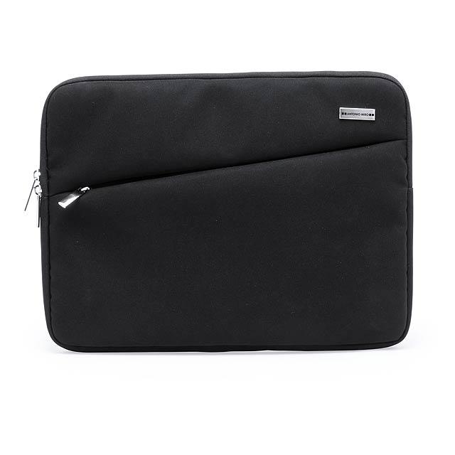 Polstrovaná taška na dokumenty s přední kapsou na zip a hlavní přihrádkou, polyester 1680D. Antonio Miro značkový produkt. - černá - foto