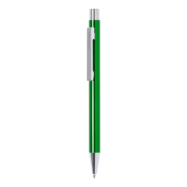 Hliníkové kuličkové pero s barevným tělem, bílým klipem, stříbrnou špičkou a tlačítkem. S modrou náplní. Značkový produkt Antonio Miro.  - zelená - foto