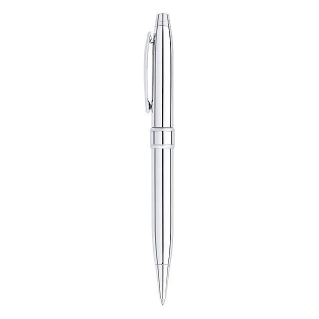 Kovové kuličkové pero s černou náplní, v dárkové krabičce.  - tmavě šedá - foto