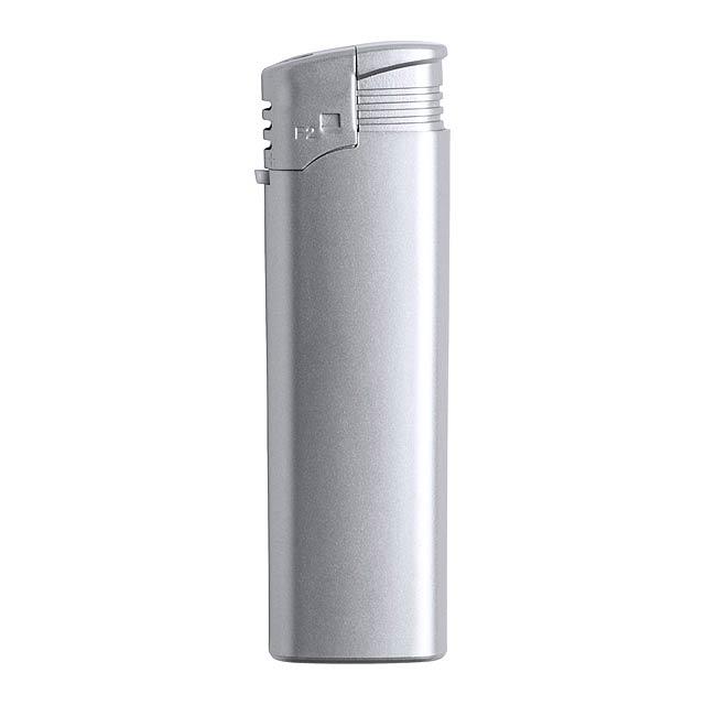 Plnitelný plastový zapalovač. K dispozici pouze v exportním originálním balení po 1000 ks. (Násobky po 1000 ks)!  - stříbrná - foto