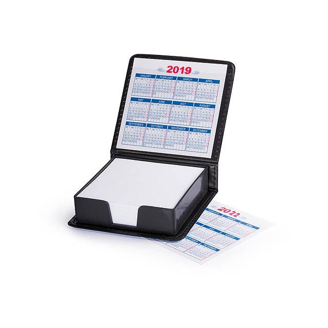 Blok v PU kůži s kalendářem do roku 2022. - černá - foto
