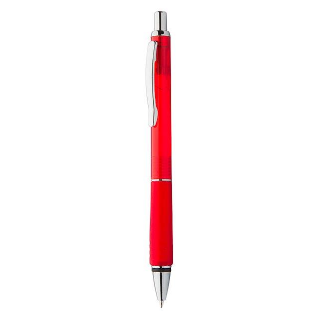 Plastové kuličkové pero s pogumovaným gripem. Dodává se s modrou náplní. - červená - foto