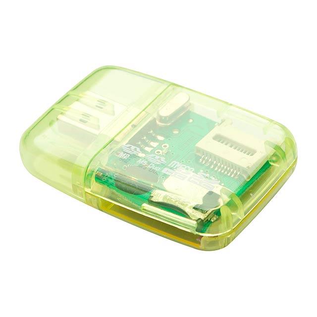 USB 2.0 čtečka paměťových karet. Podporované formáty karet: M2, MS Duo, Micro SD, SD. - žlutá - foto