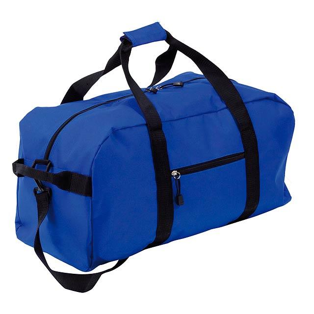 Sportovní taška na rameno s kapsami na zip. Materiál 600D polyester. - modrá - foto