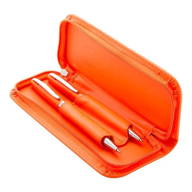 Kovové kuličkové pero a mikrotužka v koženkovém obalu. Dodáváno s tuhou 0,7 mm. - oranžová - foto