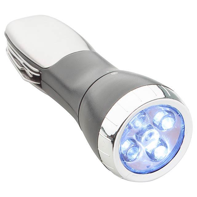 Talos multifunkční baterka - stříbrná