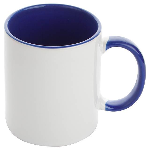 Keramický hrnek s barevným ouškem a vnitřkem, určený na sublimaci, v dárkové krabičce, 350 ml. Obsah: 350 ml - modrá - foto