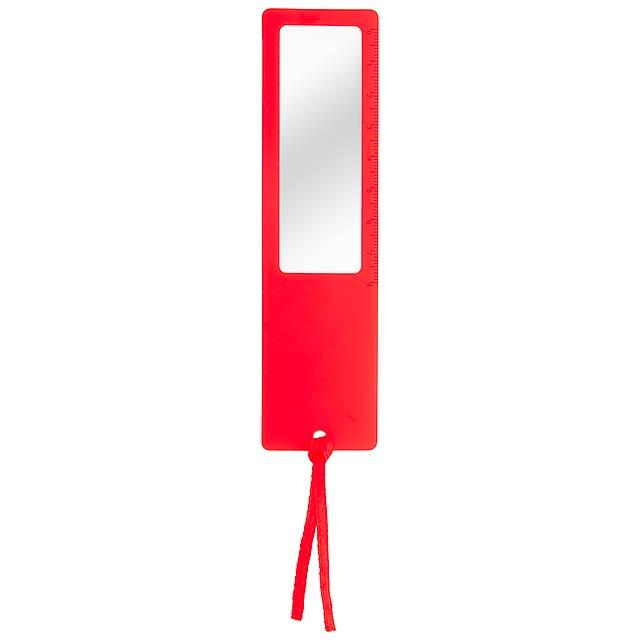 Okam pravítko s lupou - červená
