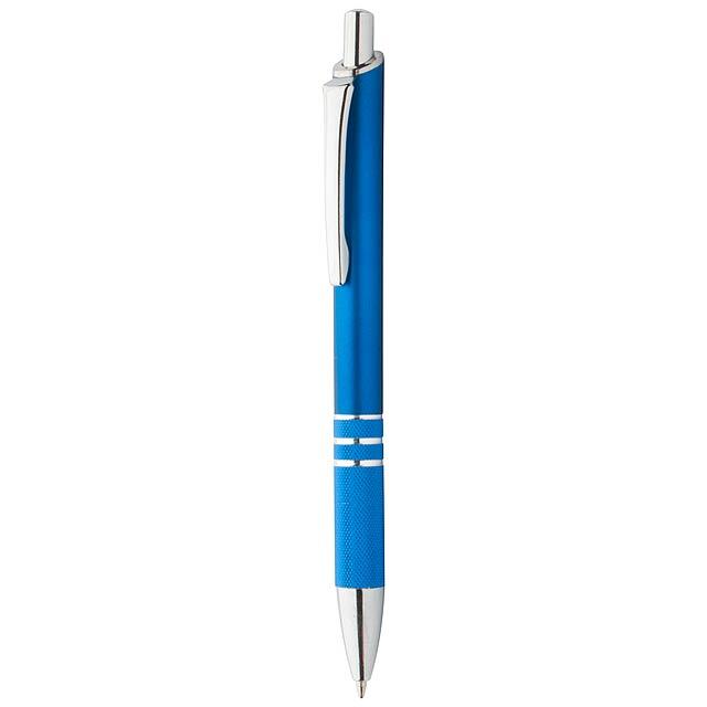 Kuličkové pero plast/hliník s modrou náplní. - modrá - foto