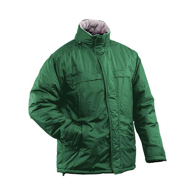 Voděodolná bunda parka, pongee ripstop s fleecovou podšívkou. Vnitřní zip pro možnost potisku. - zelená - foto