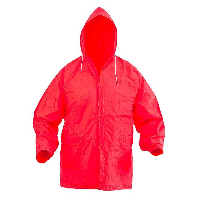 Pláštěnka na zip s kapucí, v jedné velikosti. Materiál: EVA. - červená - foto