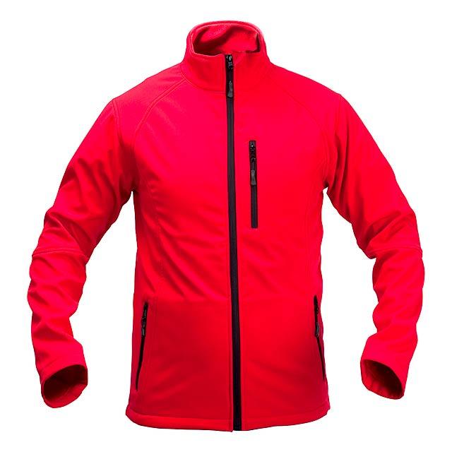 Softshellová bunda na zip, 94% polyester / 6% elastan se 3 kapsami. Prodyšná a voděodolná, 300 g/m². - červená - foto