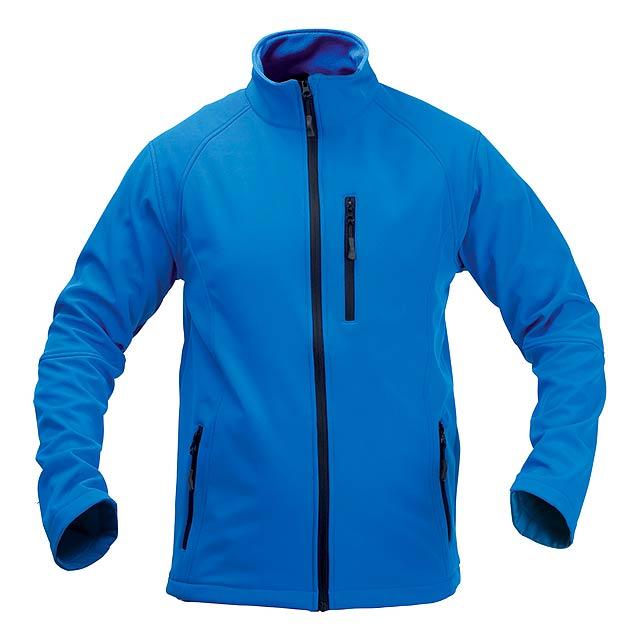 Softshellová bunda na zip, 94% polyester / 6% elastan se 3 kapsami. Prodyšná a voděodolná, 300 g/m². - modrá - foto