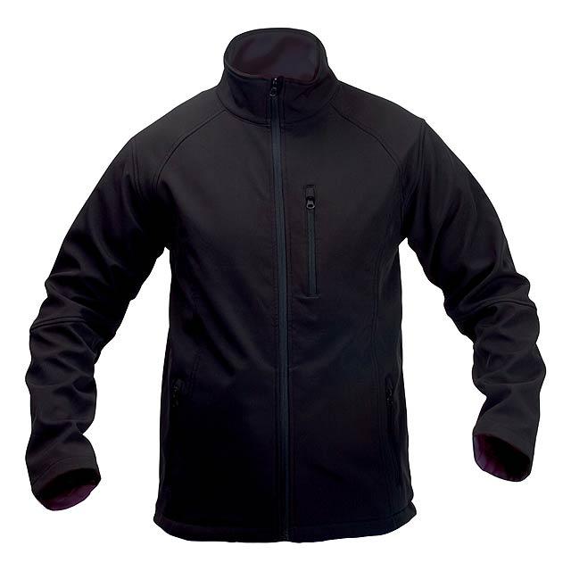 Softshellová bunda na zip, 94% polyester / 6% elastan se 3 kapsami. Prodyšná a voděodolná, 300 g/m². - černá - foto