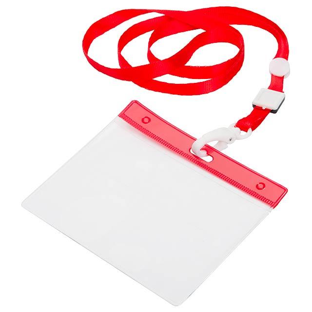 Lanyard s plastovou karabinkou a PVC držákem, polyester. - červená - foto