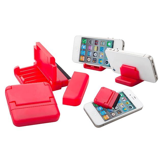 Tout stojan na mobil a čistič displeje - červená