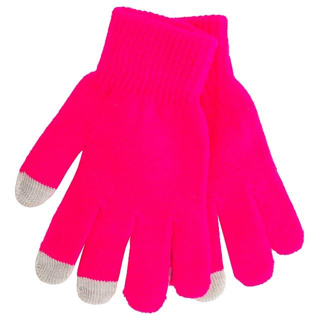 Actium dotykové rukavice na obrazovku - fuchsiová (tm. růžová)