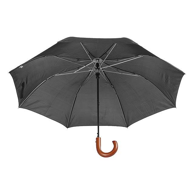 Stansed skládací deštník s dřevěnou rukojetí - černá